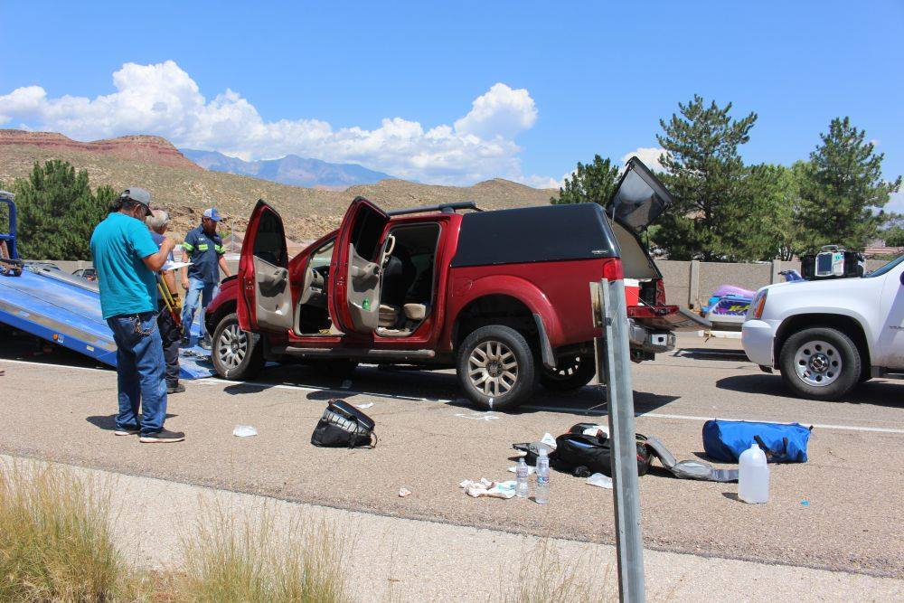 An RV, a car and a pickup truck tangled on state Route 9 Saturday afternoon. Hurricane, Utah, Aug. 6, 2016 | Photo by Ric Wayman, St. George News