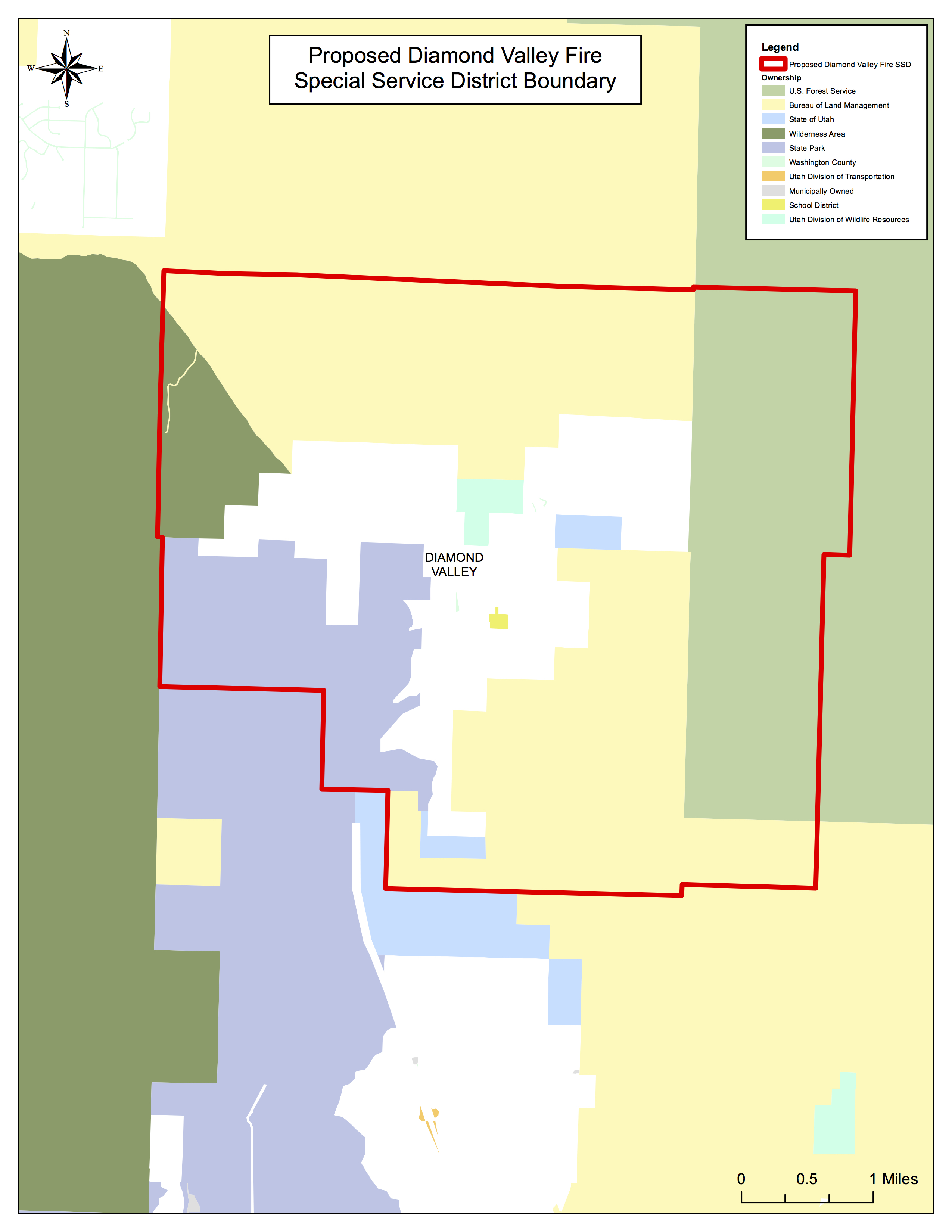 Boundaries of the new Diamond Valley Fire special service district | Image courtesy Washington County, St. George News