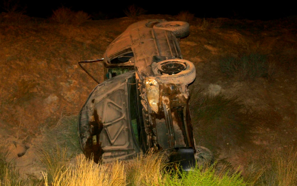 Honda Civic involved in rollover Wednesday night as driver attempts to avoid something running in road, Hurricane, Utah, Aug. 17, 2016 | Photo by Cody Blowers, St. George News