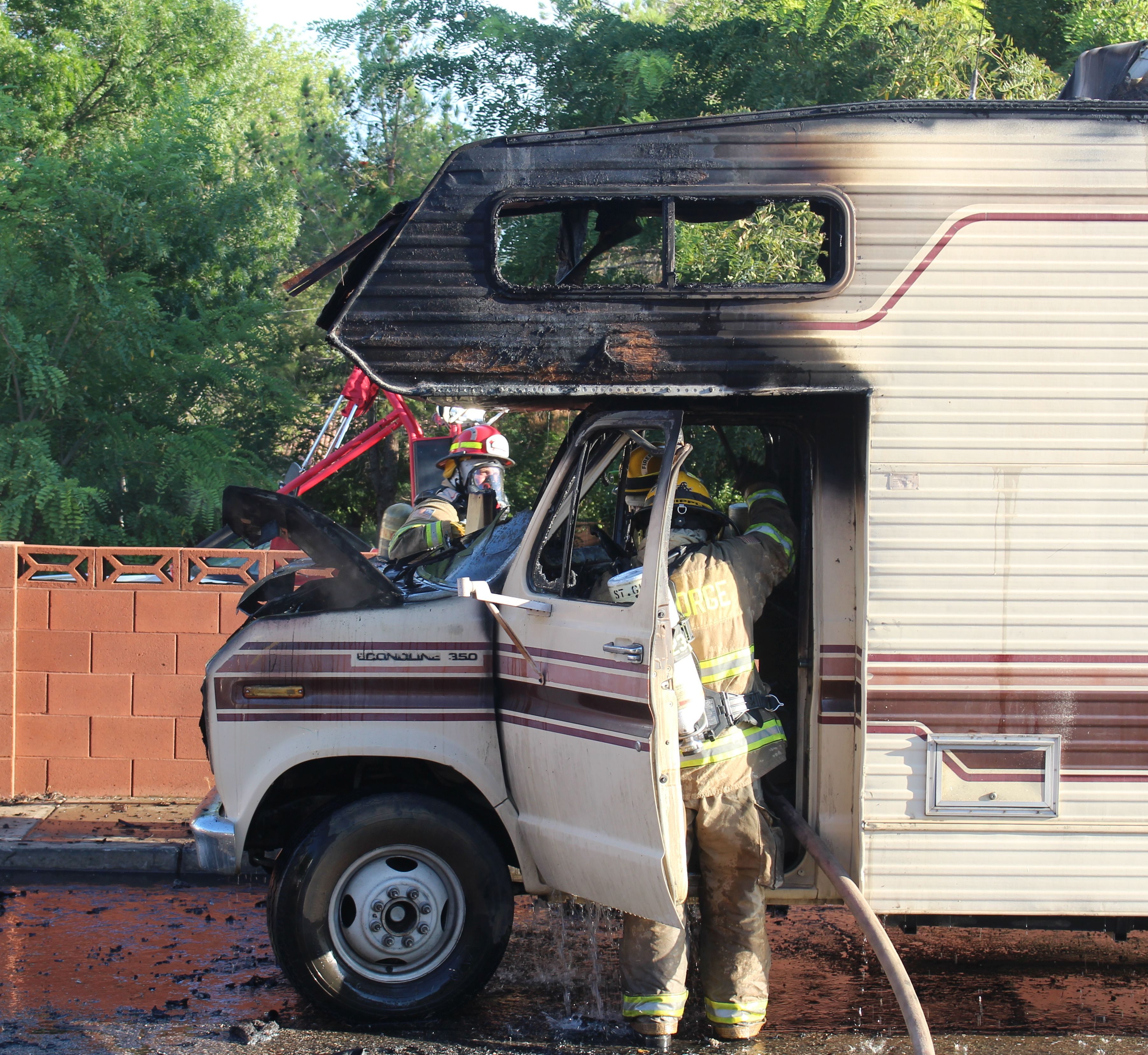 A motor home was destroyed Tuesday evening when it caught of fire in a St. George neighborhood. St. George, Utah, Aug. 2, 2016 | Photo by Ric Wayman, St. George News
