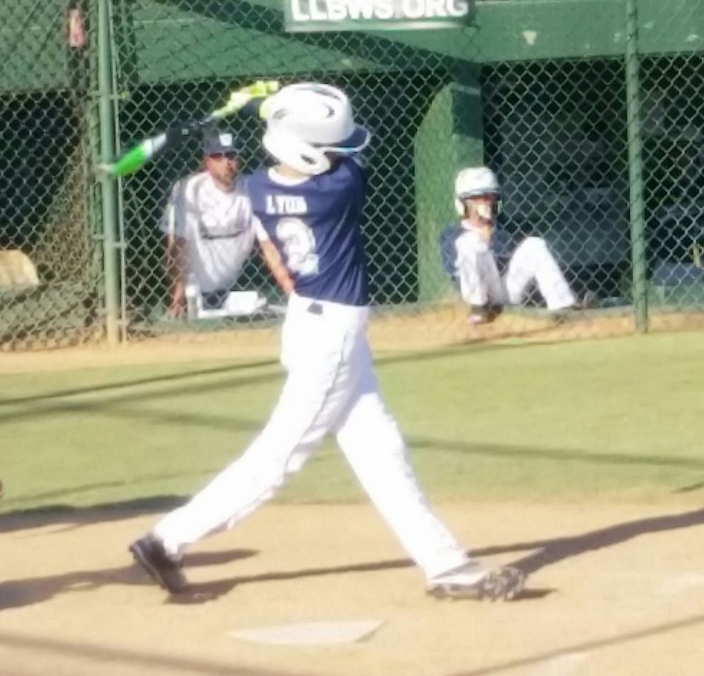 Isaac Lyons takes a swing at the West regional of the Little League World Series Aug. 9, 2016, in San Bernardino, Calif. | Photo by Dennis Pope, special to St. George News