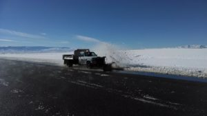 Truck with 12-foot plow attached, St. George Regional Airport, St. George, Utah, 2014 | Photo by Darrell Cashin, St. George News
