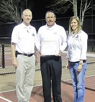 This January 2012 file photo shows Steve Garcia and others as Garcia received the Healthy Dixie Award for 2012 from the Healthy Dixie Council for his role in establishing the Hurricane Pickleball courts. Hurricane, Utah, January 2012 | File photo, St. George News