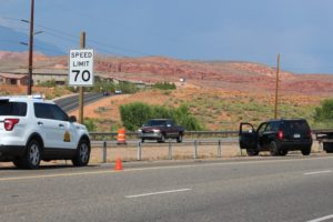 Jeep disabled after it ran out of gas on Interstate 15 in Washington, Utah, Aug. 18, 2016 | Photo by Cody Blowers, St. George News
