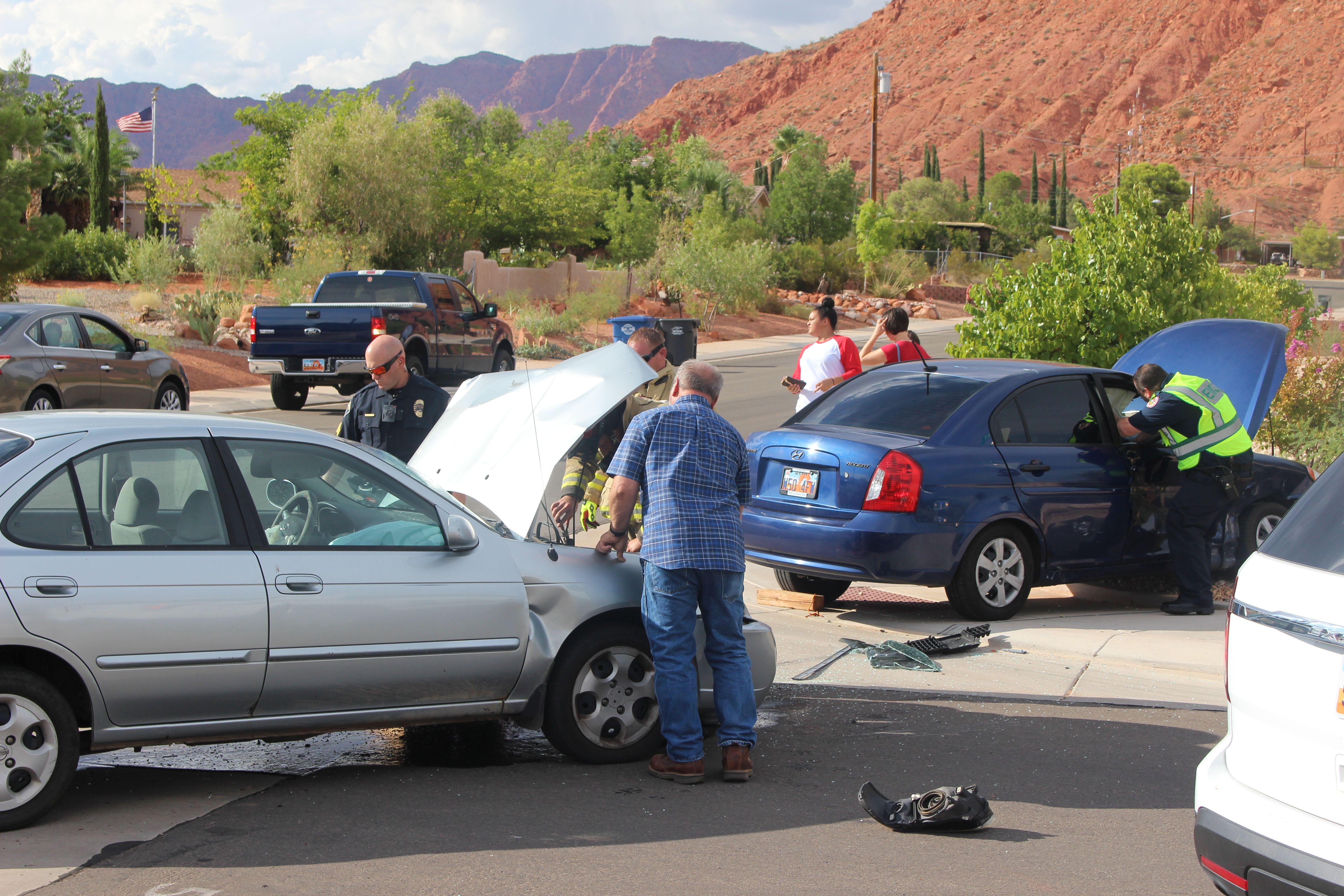 A woman was transported to the hospital following a two-vehicle collision at the intersection of 200 North and Main Street. Ivins, Utah, Aug. 22, 2016 | Photo by Ric Wayman, St. George News