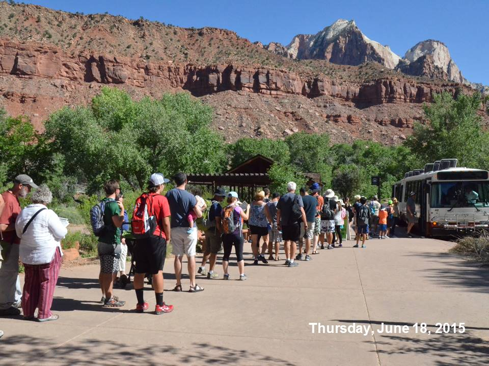 Tourists waiting to catch the shuttle buses on Thursday, June 14, 2015. | Photo courtesy Zion National Park, St. George News