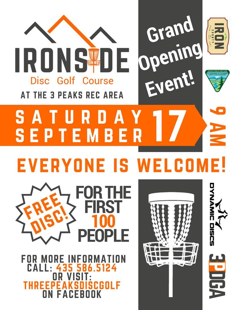 Ironside Disc Golf grand opening tournament flier | Click on image to enlarge