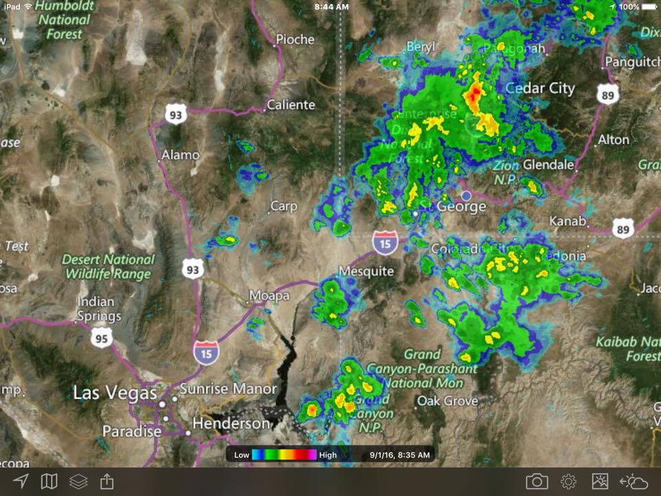 Screenshot of MyRadar.com showing thunderstorm passing over parts of Utah, Sept. 1, 2016 | St. George News