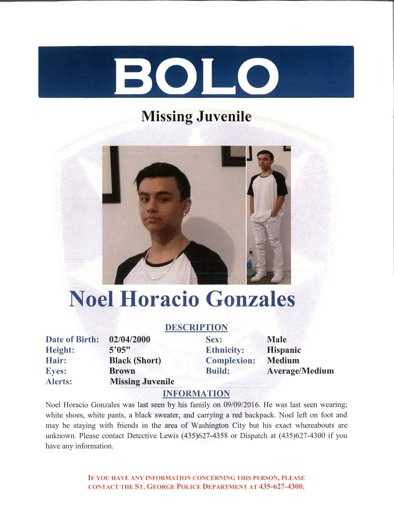 Missing person alert issued by the St. George Police Department looking for 16-year-old Noel Horacio Gonzales, St. George, Utah, Sept. 19, 2016 | Image courtesy of the St. George Police Department, St. George News