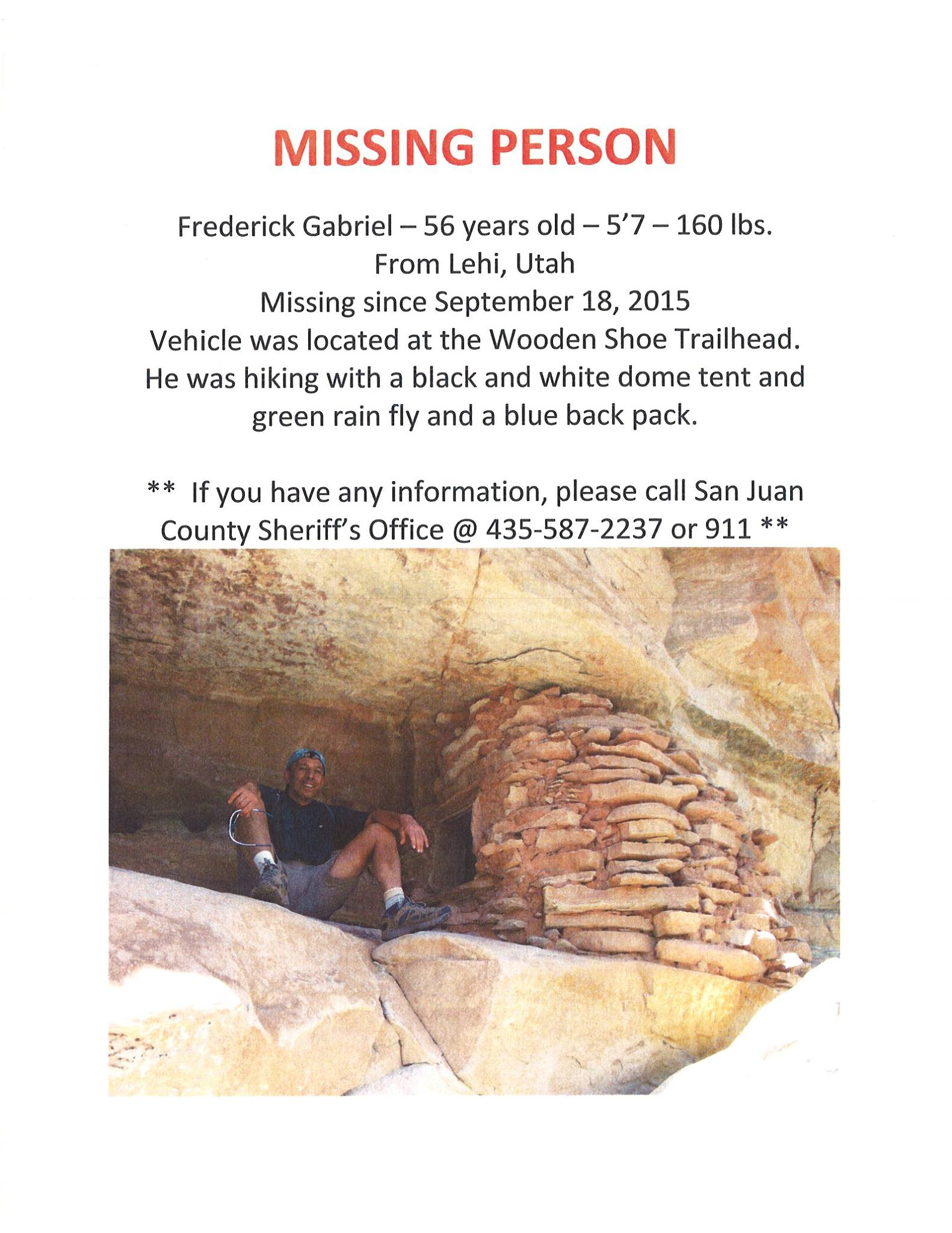 Missing persons alert issued by San Juan County Sheriff's looking for 56-year-old Frederick Gabriel who went missing near the Woodenshoe Trailhead. According to the sheriff's office, the year in the date missing is incorrect and should read 2016, San Juan County, Sept. 23, 2016 | Photo courtesy of San Juan County Sheriff's Office, St. George News.