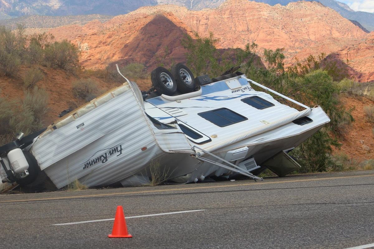 Travel trailer is destroyed after separating from the truck during a rollover on Interstate 15 Friday, Washington County, Utah, Sept. 2, 2016   Photo by Cody Blowers, St. George News