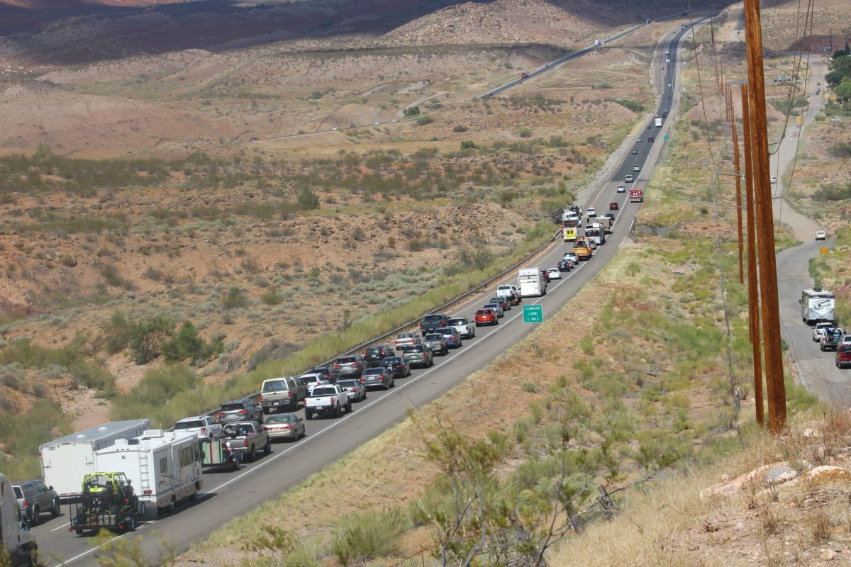 Cars were lined up in both northbound lanes on I-15 after a rollover involving a truck and trailer, Washington County, Utah, Sept. 2, 2016   Photo by Cody Blowers, St. George News