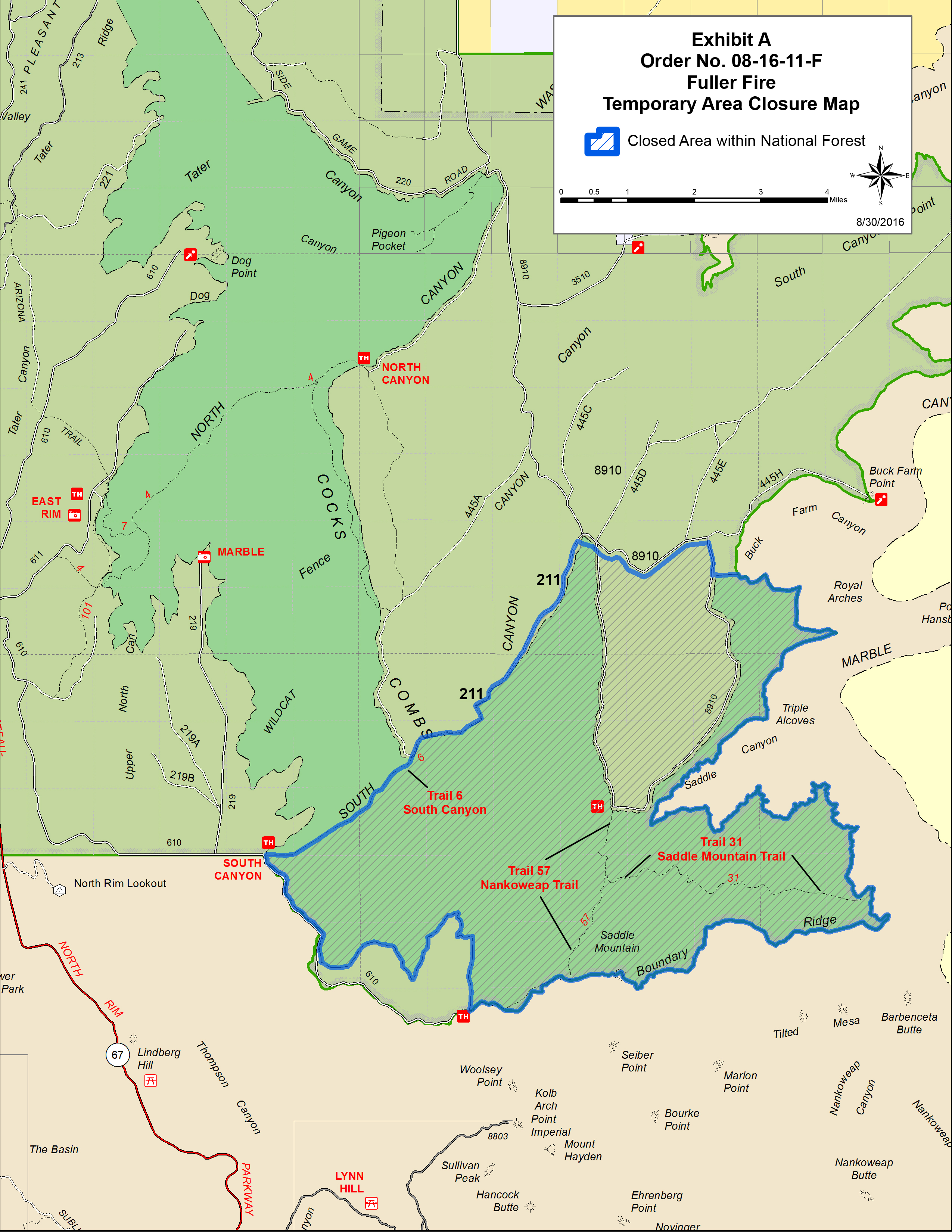 A closure order for the Fuller Fire, located on the North Rim of Grand Canyon National Park, has been modified, Sept. 2, 2016, | Graphic courtesy Kaibab National Forest, North Kaibab Ranger District, St. George News