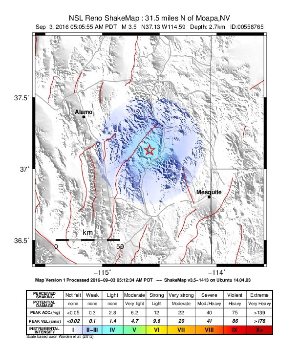 This ShakeMap shows an earthquake 31.6 miles north of Moapa, Nevada, Saturday at 5:05 a.m. | Map by and courtesy of Nevada Seismological Survey in Reno, St. George News
