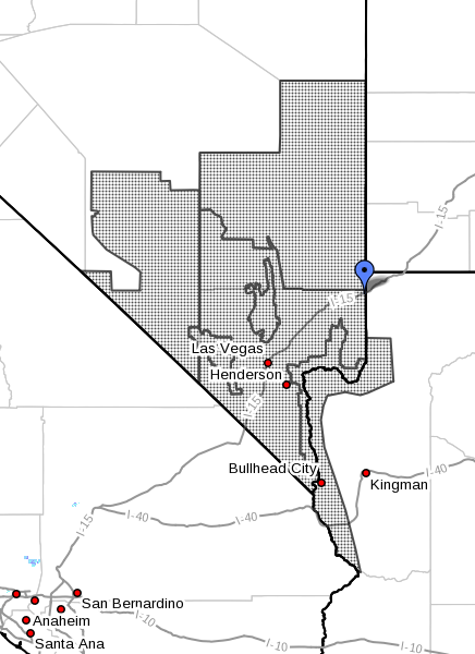 Dotted areas denote region subject to fire weather watch for Tuesday, southern Nevada. Map generated Sept. 11, 2016 at 4:52 a.m. PDT | Image courtesy of National Weather Service, St. George News