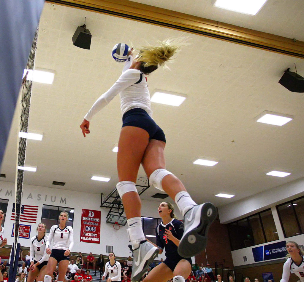 Dixie State's Taylor Duryea (4), Dixie State University vs. Holy Names University, Volleyball, St. George, Utah, Sept. 24, 2016, | Photo by Megan Hoppie, ASPpix.com, St. George News