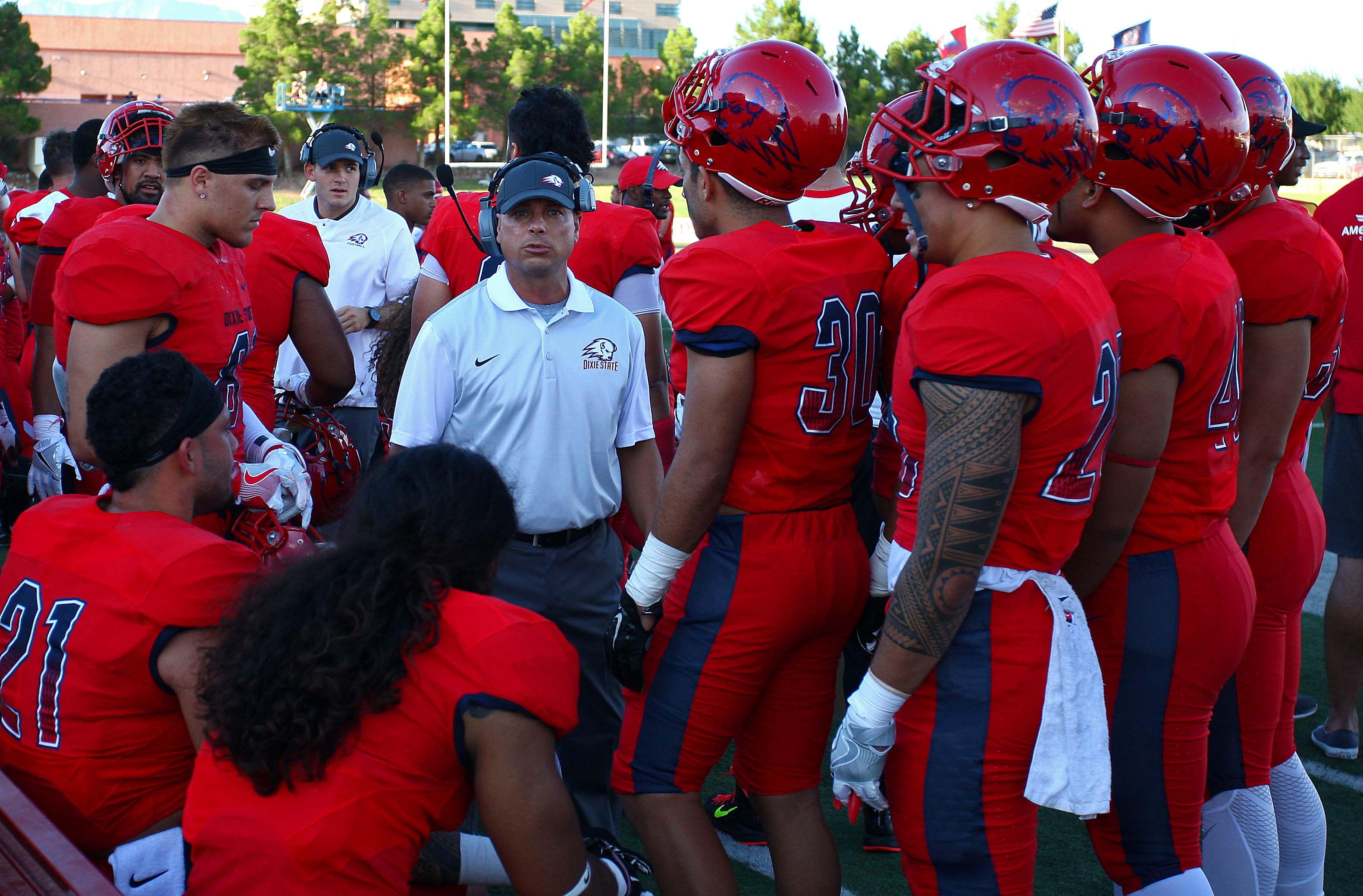 Dixie State's Head Coach Shay McClure, Dixie State University vs. New Mexico Highlands University, Football, St. George, Utah, Sept. 1, 2016, | Photo by Robert Hoppie, ASPpix.com, St. George News
