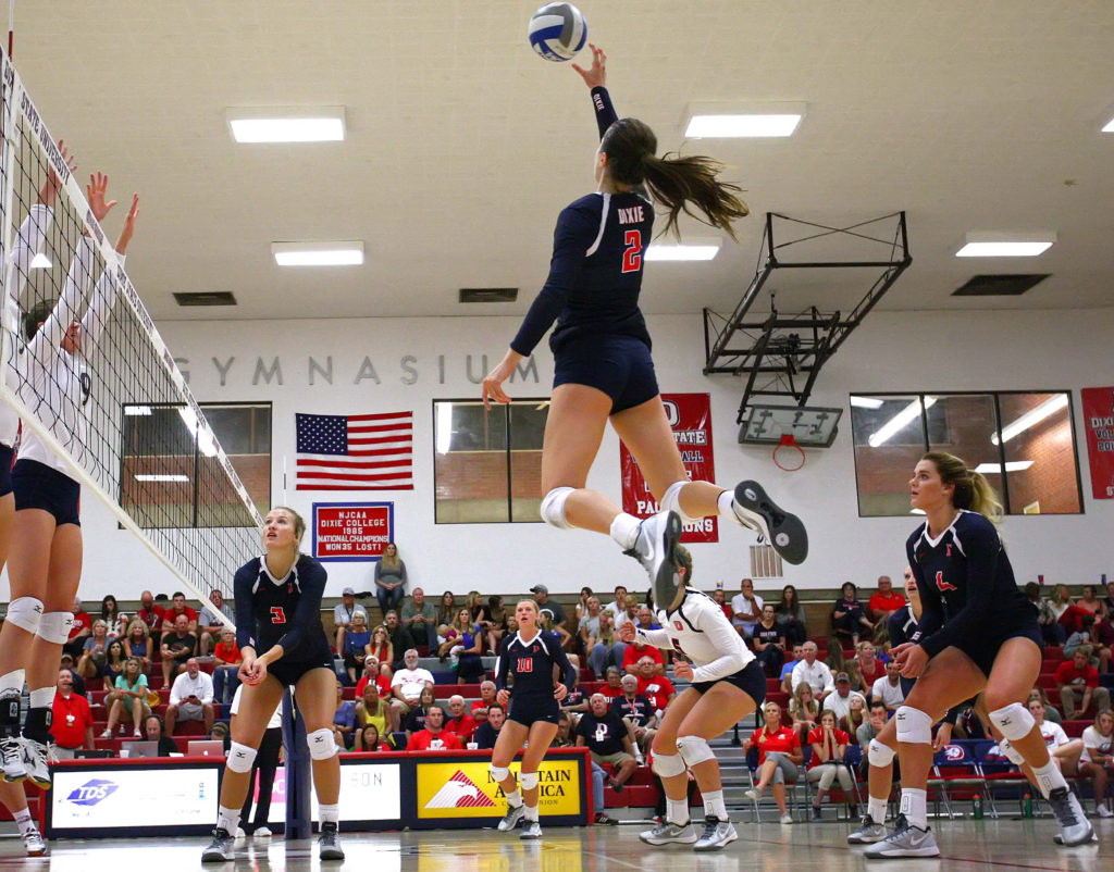 Dixie State's Delayne Daniel (2), file photo from Dixie State University vs. Cal State Monterey Bay University, Volleyball, St. George, Utah, Sept. 3, 2016, | Photo by Megan Hoppie, ASPpix.com, St. George News