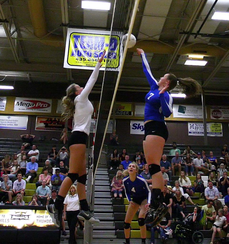Desert Hills vs. Dixie, Volleyball, St. George, Utah, Sept. 15, 2016, | Photo by Megan Hoppie, ASPpix.com, St. George News