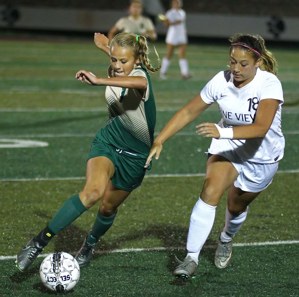 Snow Canyon's Heidi Smith (7) and Pine View's Ariana Salgado (18), Pine View vs. Snow Canyon, Soccer, St. George, Utah, Sept. 22, 2016, | Photo by Robert Hoppie, ASPpix.com, St. George News