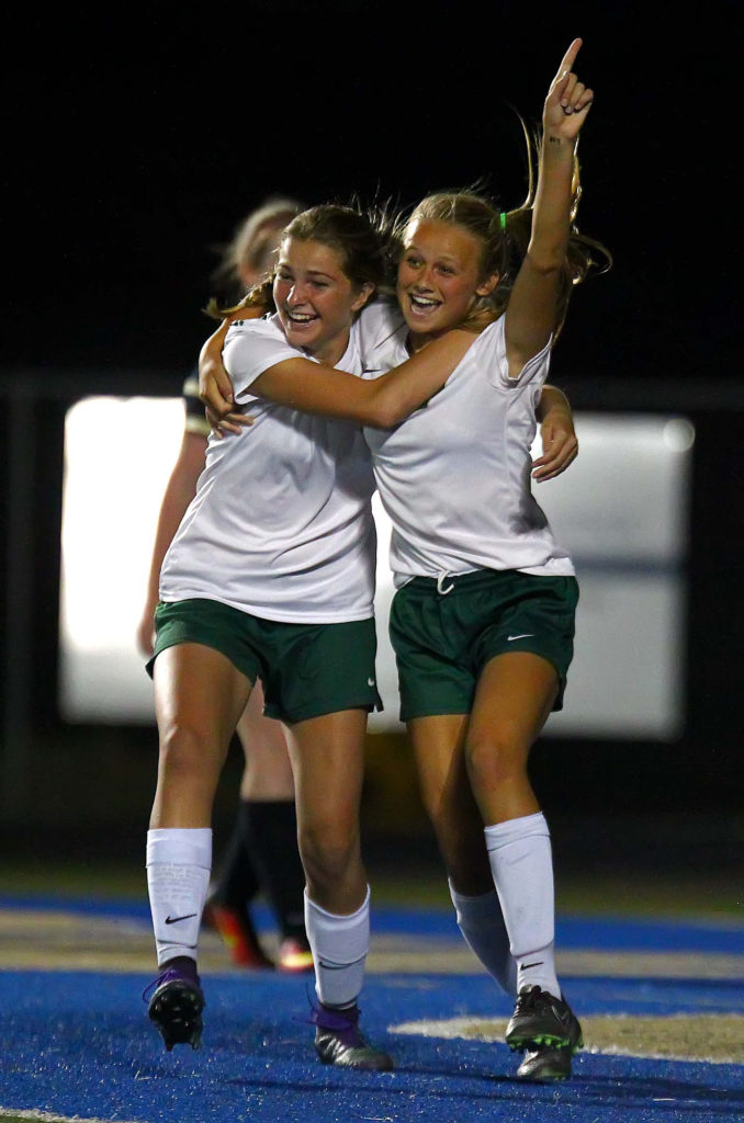 Snow Canyon's Heidi Smith (7) celebrates her goal, Snow Canyon vs. Desert Hills, Soccer, St. George, Utah, Sept. 8, 2016, | Photo by Robert Hoppie, ASPpix.com, St. George News