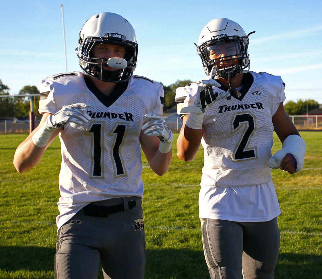Desert Hills' Ryan Hoppie (11) and Nephi Sewell (2) are back on the field after being sidelined with injuries, Grantsville vs. Desert Hills, Football, Grantsville, Utah, Sept. 9, 2016, | Photo by Robert Hoppie, ASPpix.com, St. George News