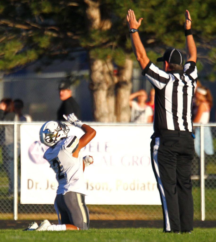 Desert Hills' Nephi Sewell (2) expresses gratitude after scoring a touchdown, Grantsville vs. Desert Hills, Football, Grantsville, Utah, Sept. 9, 2016, | Photo by Robert Hoppie, ASPpix.com, St. George News