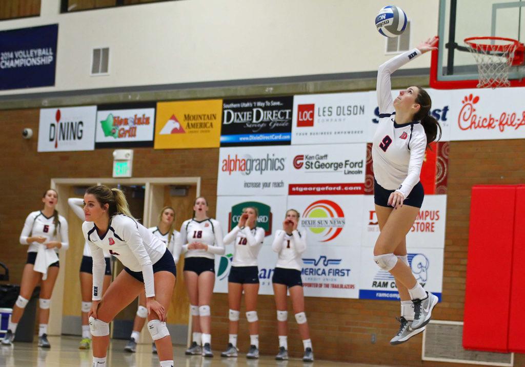 Dixie State's Megan Huddleston (9), Dixie State University vs. Holy Names University, Volleyball, St. George, Utah, Sept. 24, 2016, | Photo by Robert Hoppie, ASPpix.com, St. George News