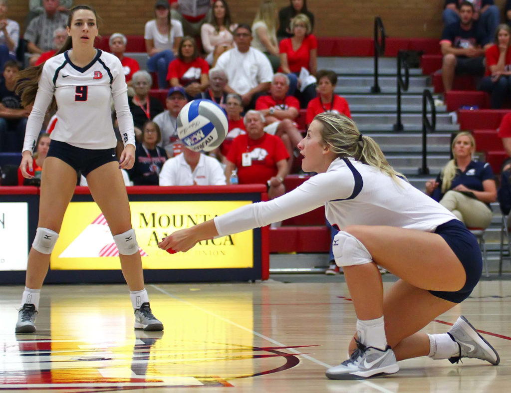 Dixie State's Lindsay Garrett (3), Dixie State University vs. Holy Names University, Volleyball, St. George, Utah, Sept. 24, 2016, | Photo by Robert Hoppie, ASPpix.com, St. George News