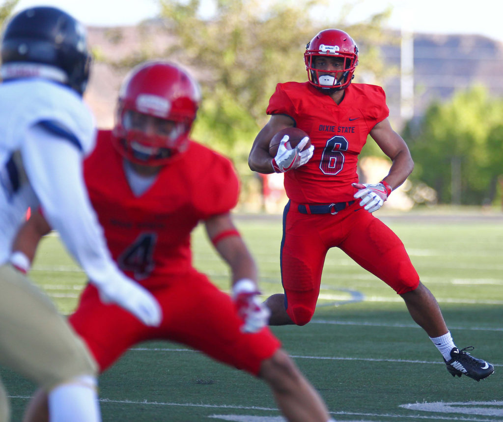 Dixie State's Orlando Wallace (6), file photo from Dixie State University vs. South Dakota State School of Mines & Technology, Football, St. George, Utah, Sept. 10, 2016, | Photo by Robert Hoppie, ASPpix.com, St. George News