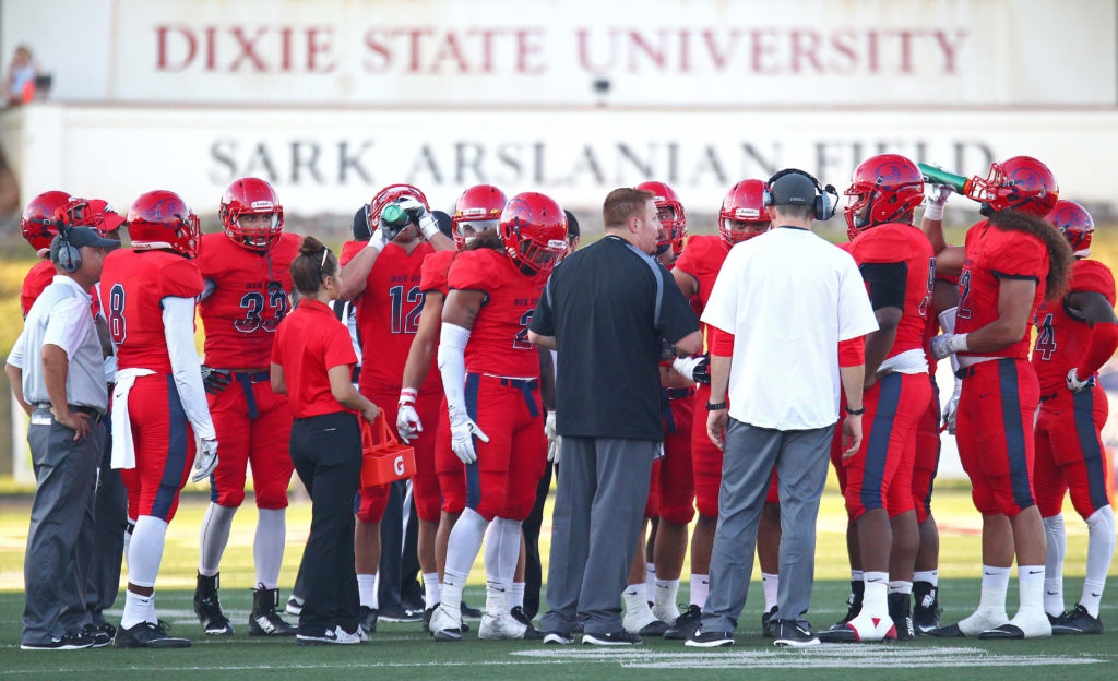 Dixie State University vs. South Dakota State School of Mines & Technology, Football, Grantsville, Utah, Sept. 10, 2016, | Photo by Robert Hoppie, ASPpix.com, St. George News