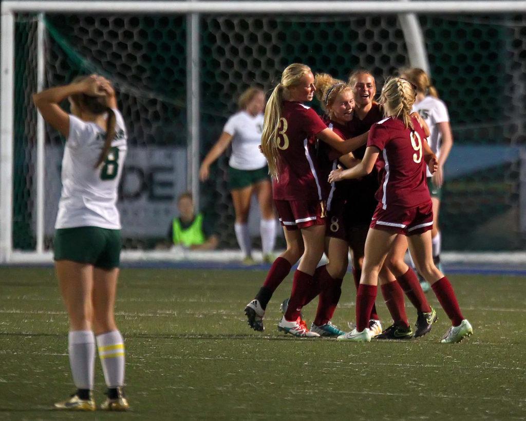 Cedar celebrates a first half goal, Snow Canyon vs. Cedar, Soccer, St. George, Utah, Sept. 13, 2016, | Photo by Robert Hoppie, ASPpix.com, St. George News