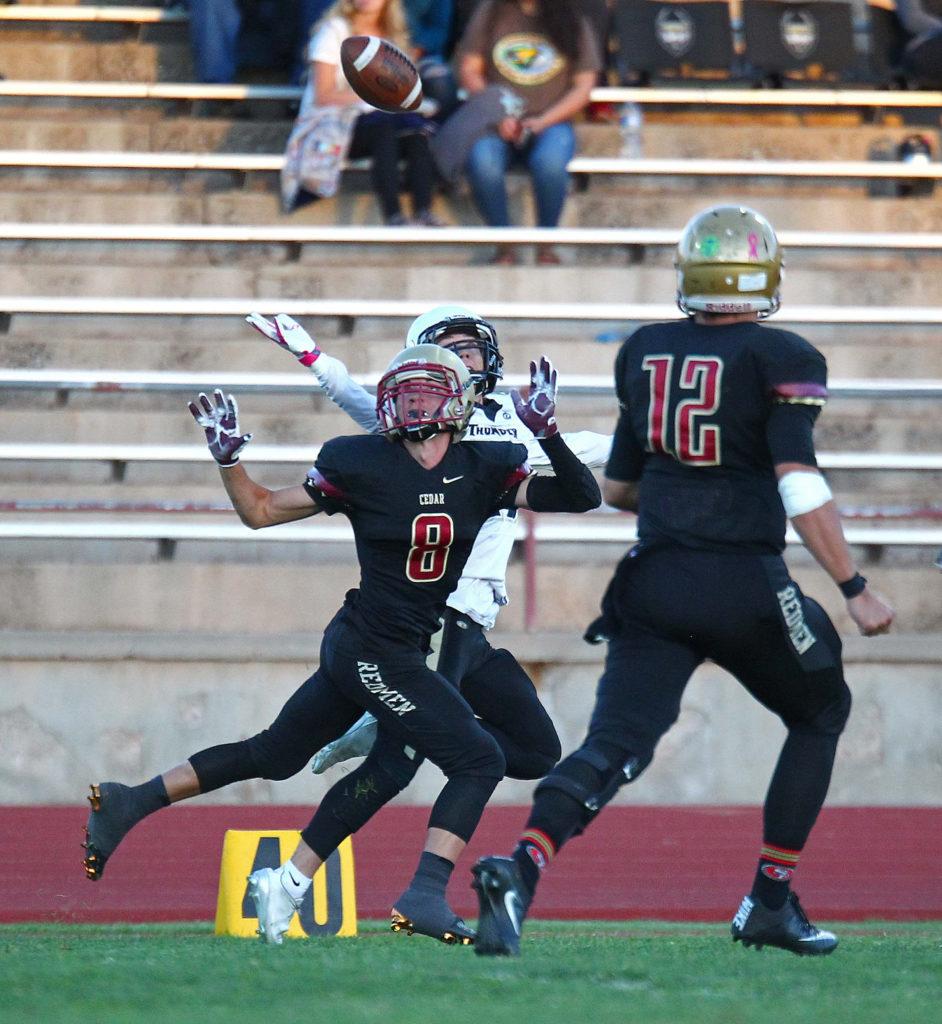 Cedar's Luke Maggio (8), Cedar vs. Desert Hills, Football, Cedar City, Utah, Sept. 16, 2016, | Photo by Robert Hoppie, ASPpix.com, St. George News