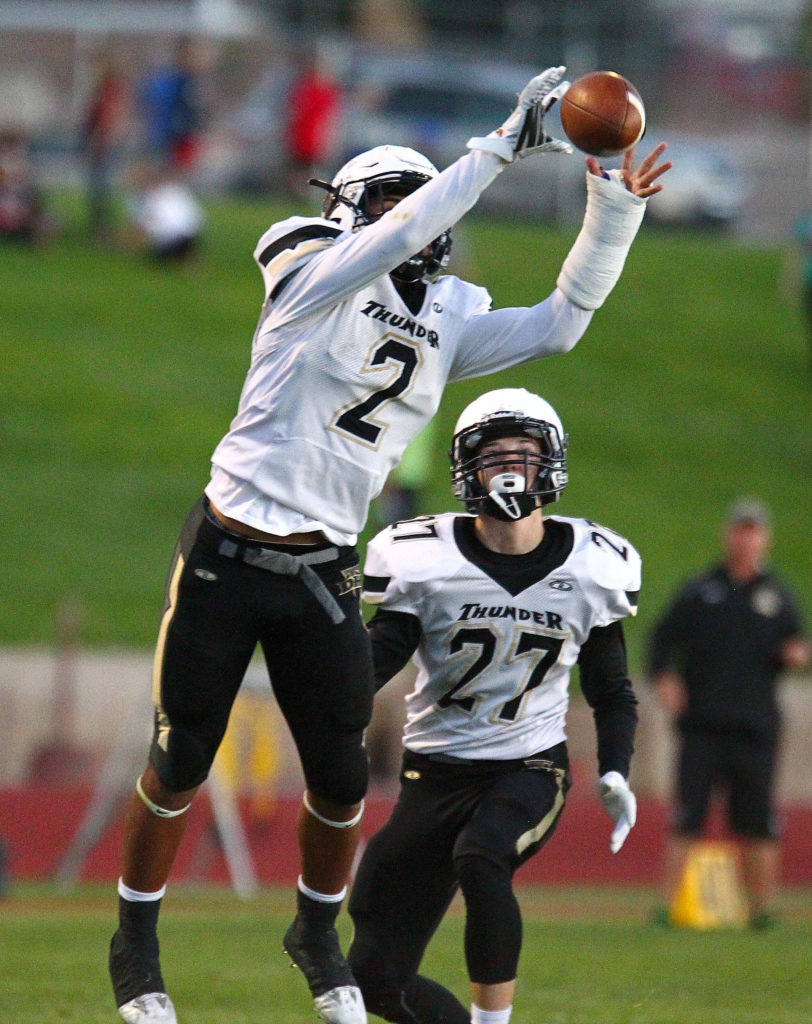Desert Hills' Nephi Sewell (2) makes an interception and runs it back for a touchdown, Cedar vs. Desert Hills, Football, Cedar City, Utah, Sept. 16, 2016, | Photo by Robert Hoppie, ASPpix.com, St. George News