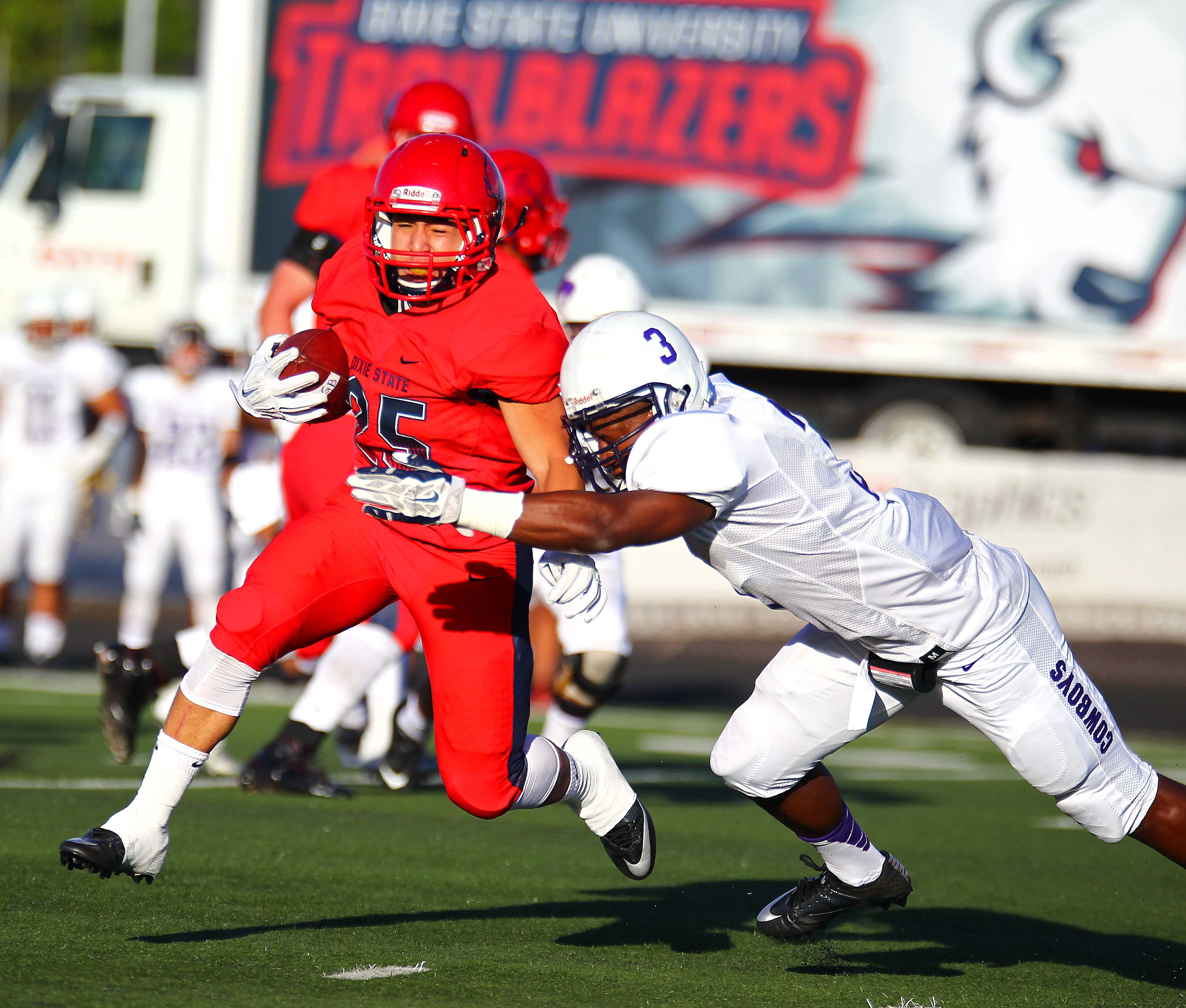 Dixie State's Sei-J Lauago (25), file photo from Dixie State University vs. New Mexico Highlands University, Football, St. George, Utah, Sept. 1, 2016, | Photo by Robert Hoppie, ASPpix.com, St. George News