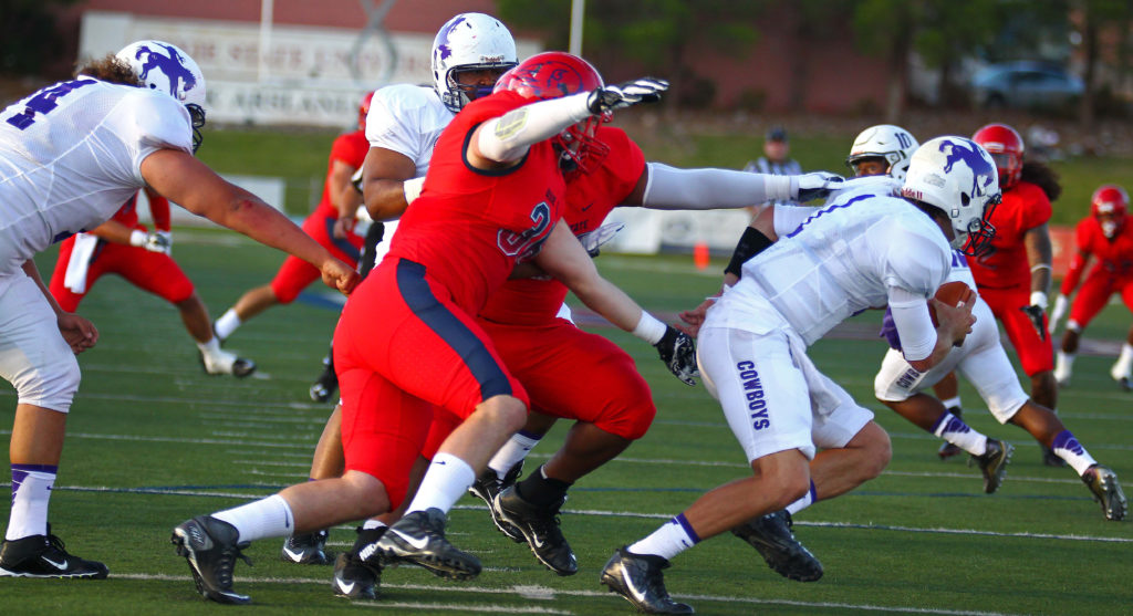 Dixie State's Dane Griffin (36), Dixie State University vs. New Mexico Highlands University, Football, St. George, Utah, Sept. 1, 2016,   Photo by Robert Hoppie, ASPpix.com, St. George News