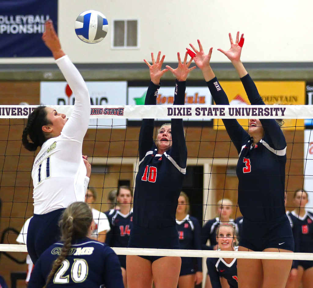 Dixie State's Brette Anderson (10) and Lindsay Garrett (3), Dixie State University vs. Cal State Monterey Bay University, Volleyball, St. George, Utah, Sept. 3, 2016, | Photo by Robert Hoppie, ASPpix.com, St. George News