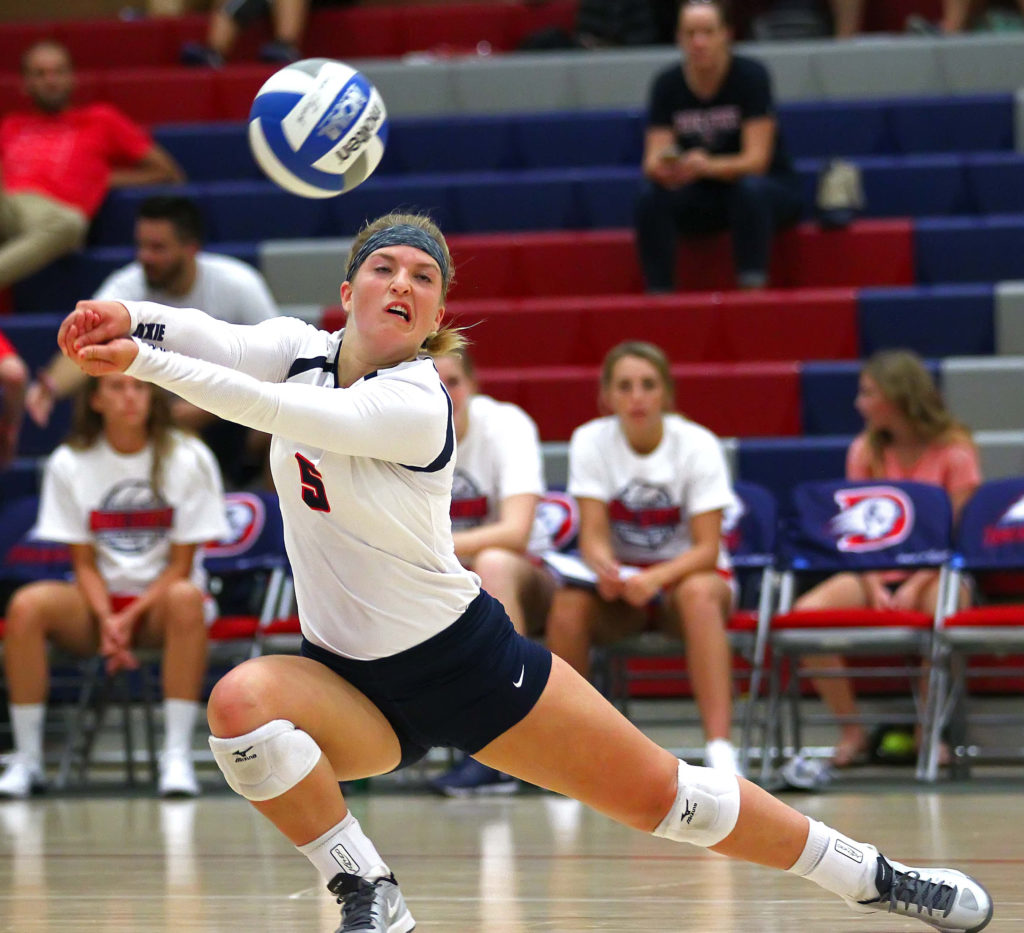 Dixie State's Jaclyn Condie (5), Dixie State University vs. Cal State Monterey Bay University, Volleyball, St. George, Utah, Sept. 3, 2016, | Photo by Robert Hoppie, ASPpix.com, St. George News