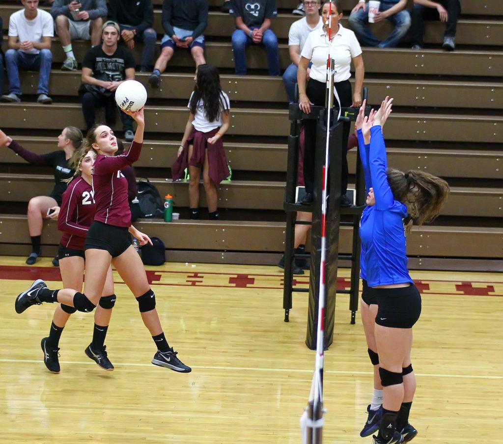 Pine View's Amelia Goebel (19), Pine View vs. Dixie, Volleyball, St. George, Utah, Sept. 22, 2016, | Photo by Robert Hoppie, ASPpix.com, St. George News