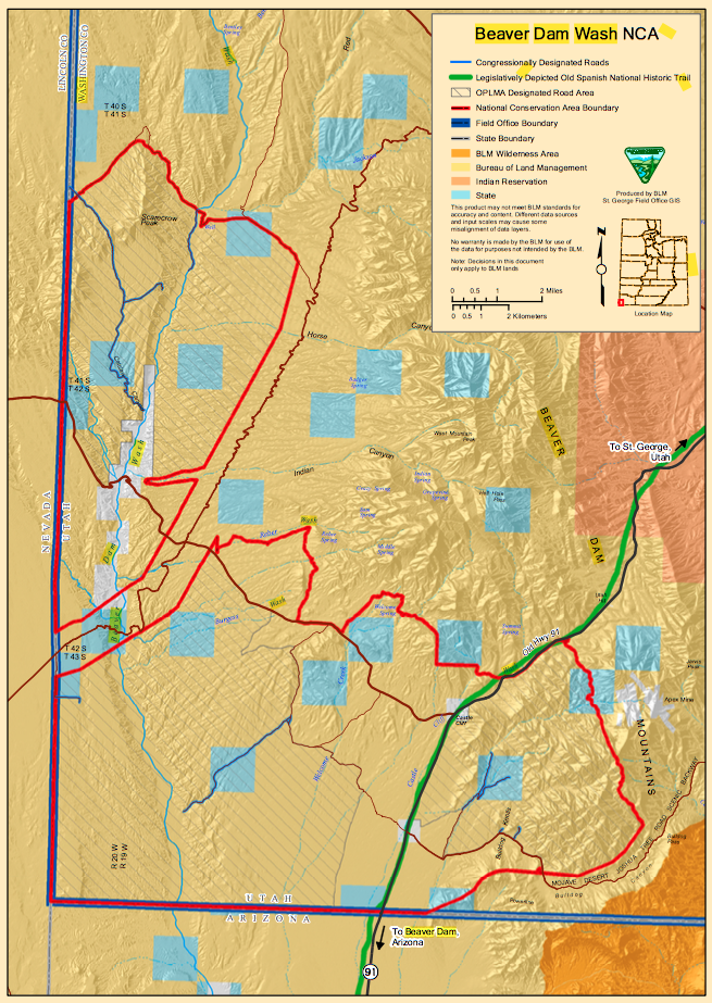 Map of the Beaver Dam Wash National Conservation Area | Image courtesy of BLM