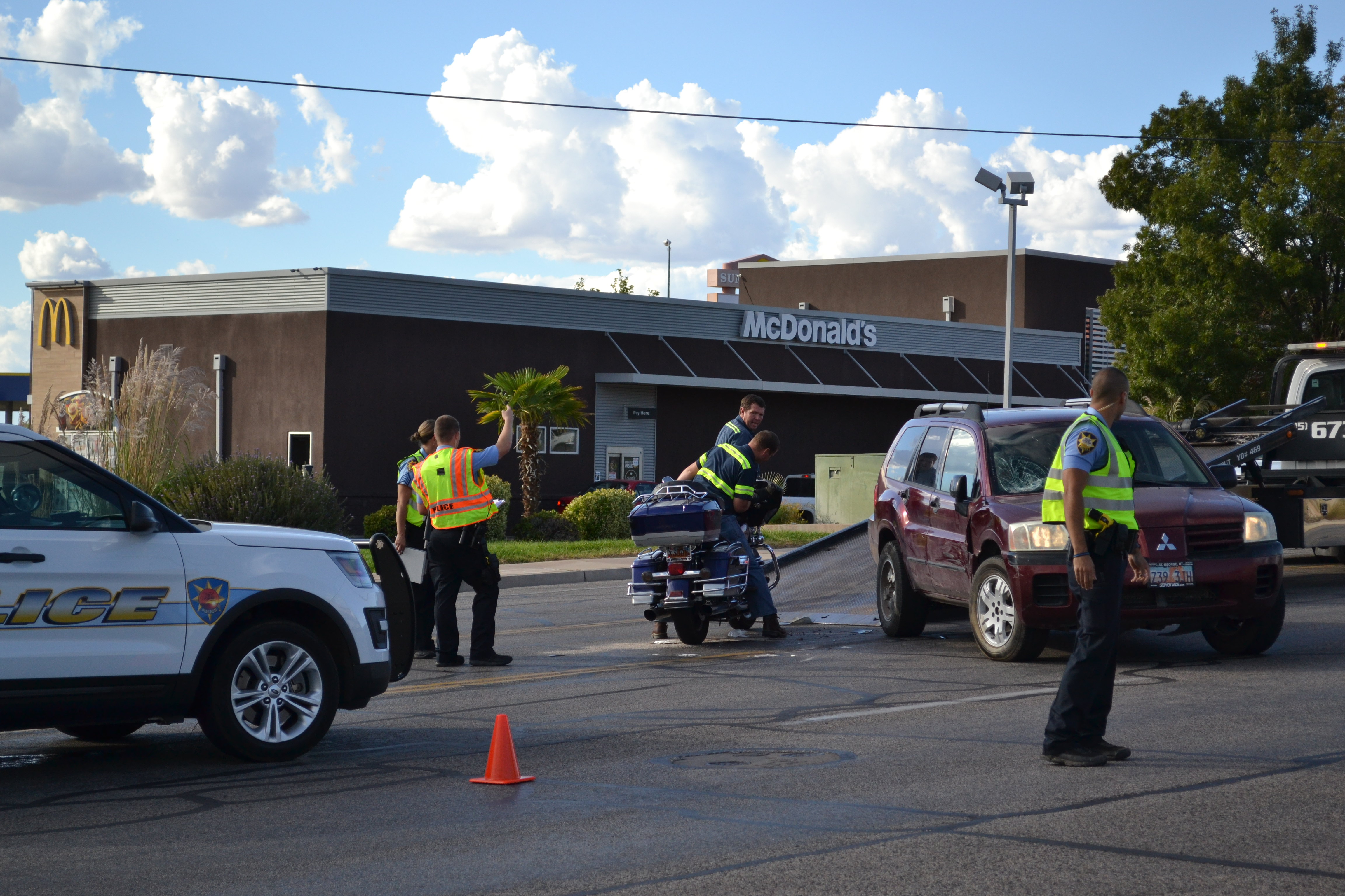 Police respond to a collision between an SUV and a motorcycle near the intersection of W. Sunset Boulevard and N. Dixie Drive, St. George, Utah, Sept. 30, 2016 | Photo by Joseph Witham, St. George News