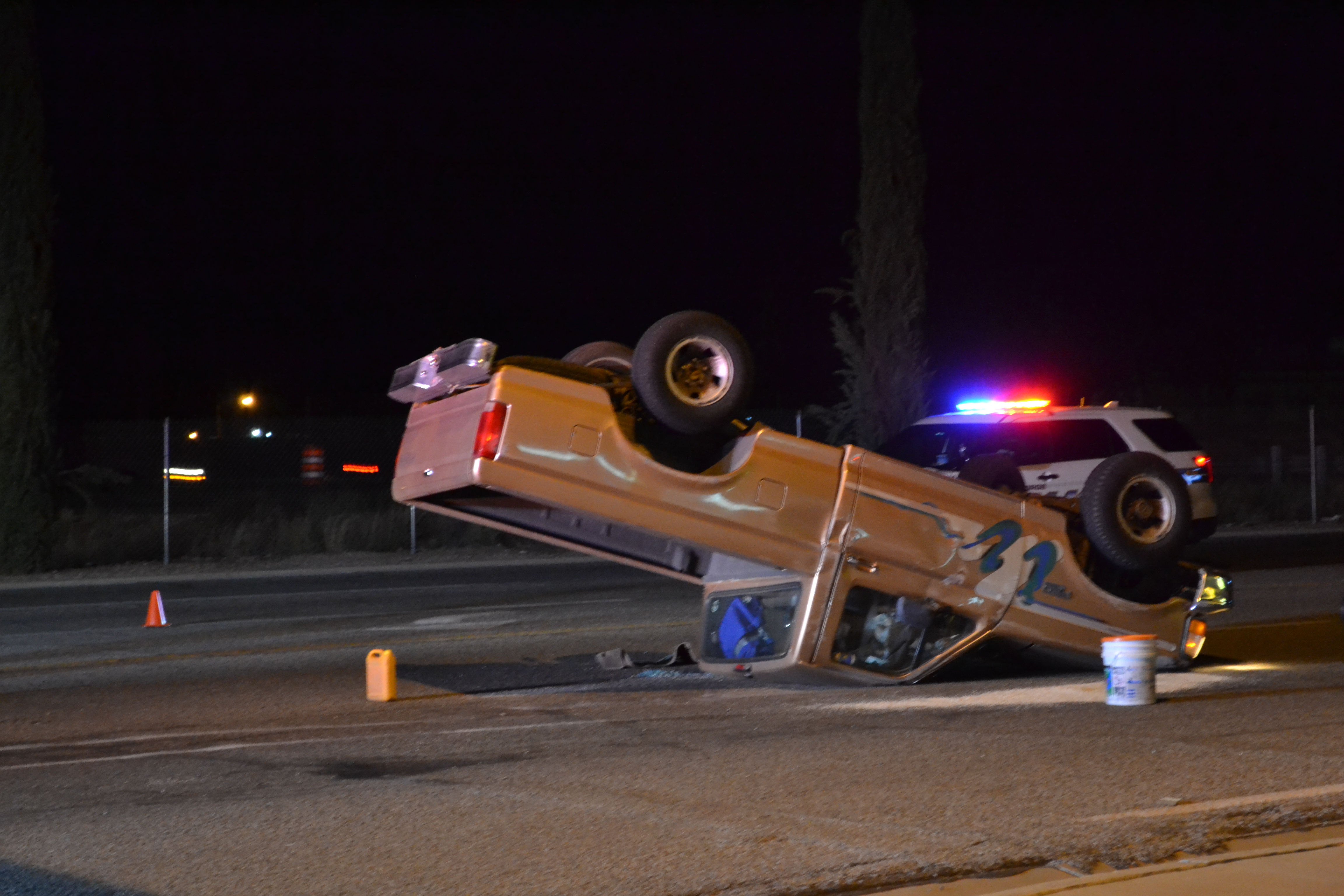 An apparent accident at the intersection of Red Cliffs Drive and East Ridge Drive reportedly caused a truck to roll over, St. George, Utah, Sept. 25, 2016   Photo by Joseph Witham, St. George News