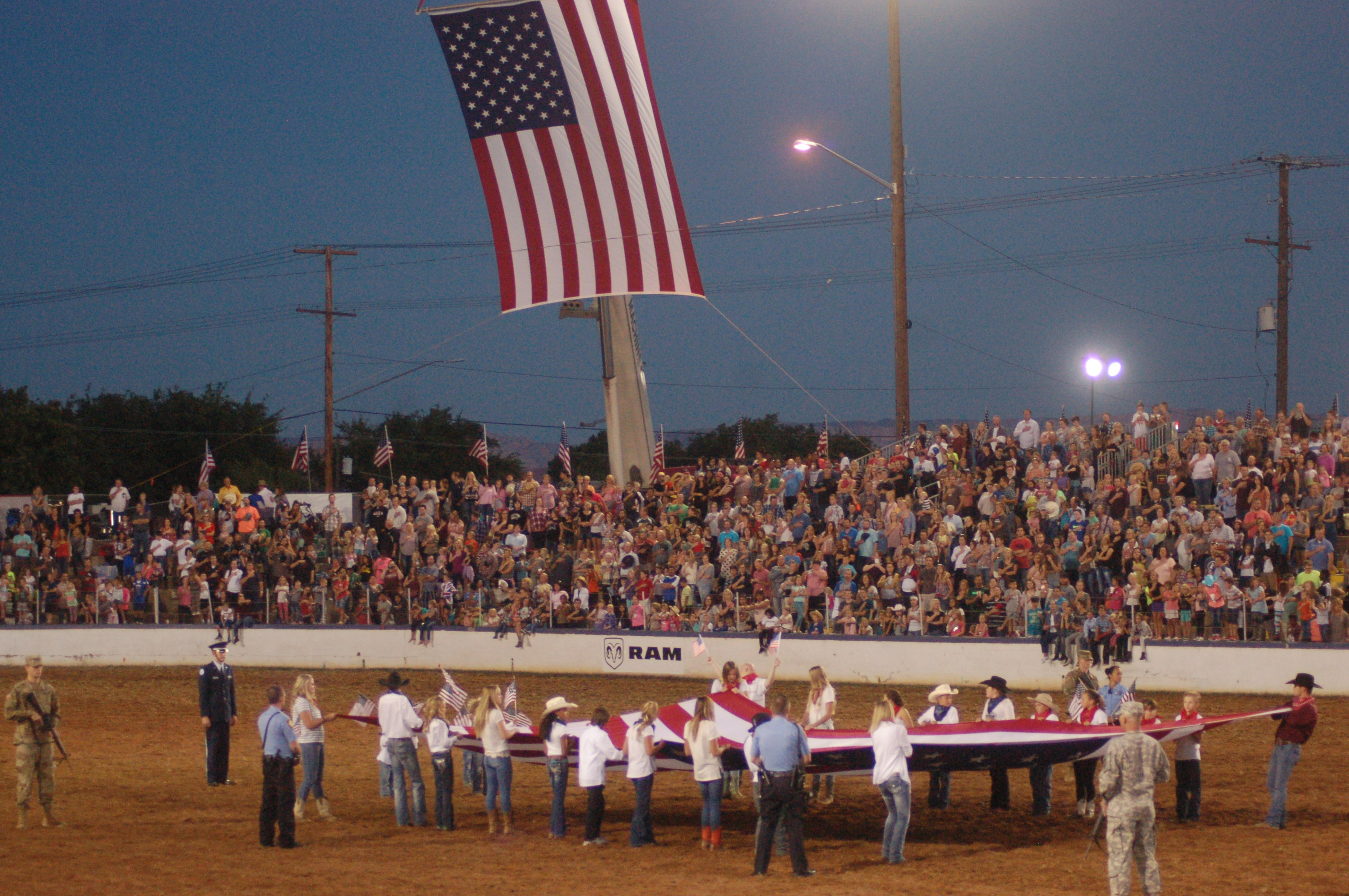 A patriotic program kicks off the 82nd annual Dixie Roundup Rodeo, St. George, Utah, September 15, 2016 | Photo by Hollie Reina, St. George News