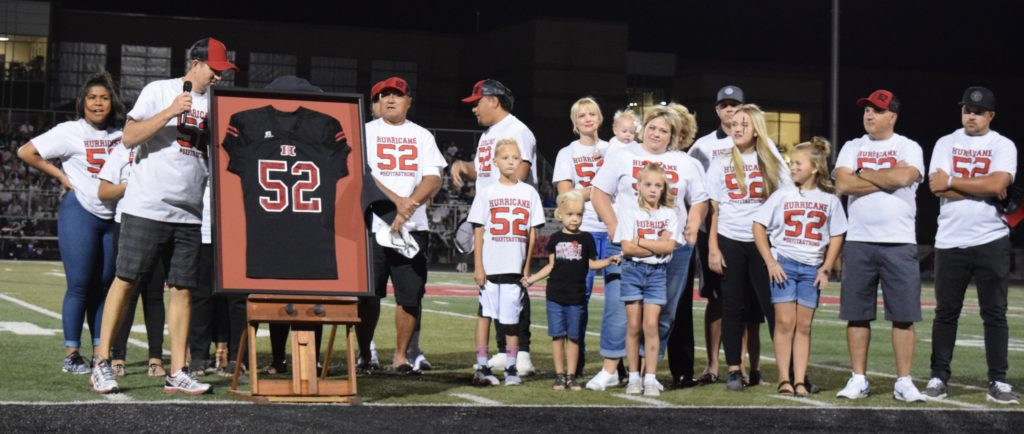 At halftime, Hurricane honored former player Charlie Sefita, who passed away earlier this year after complications with his heart, Hurricane vs. Snow Canyon, Hurricane, Utah, Sept. 16, 2016 | Photo by Katina Young, for St. George News
