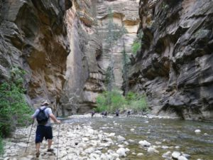 Hikers of the Zion Narrows are required to obtain a backcountry permit