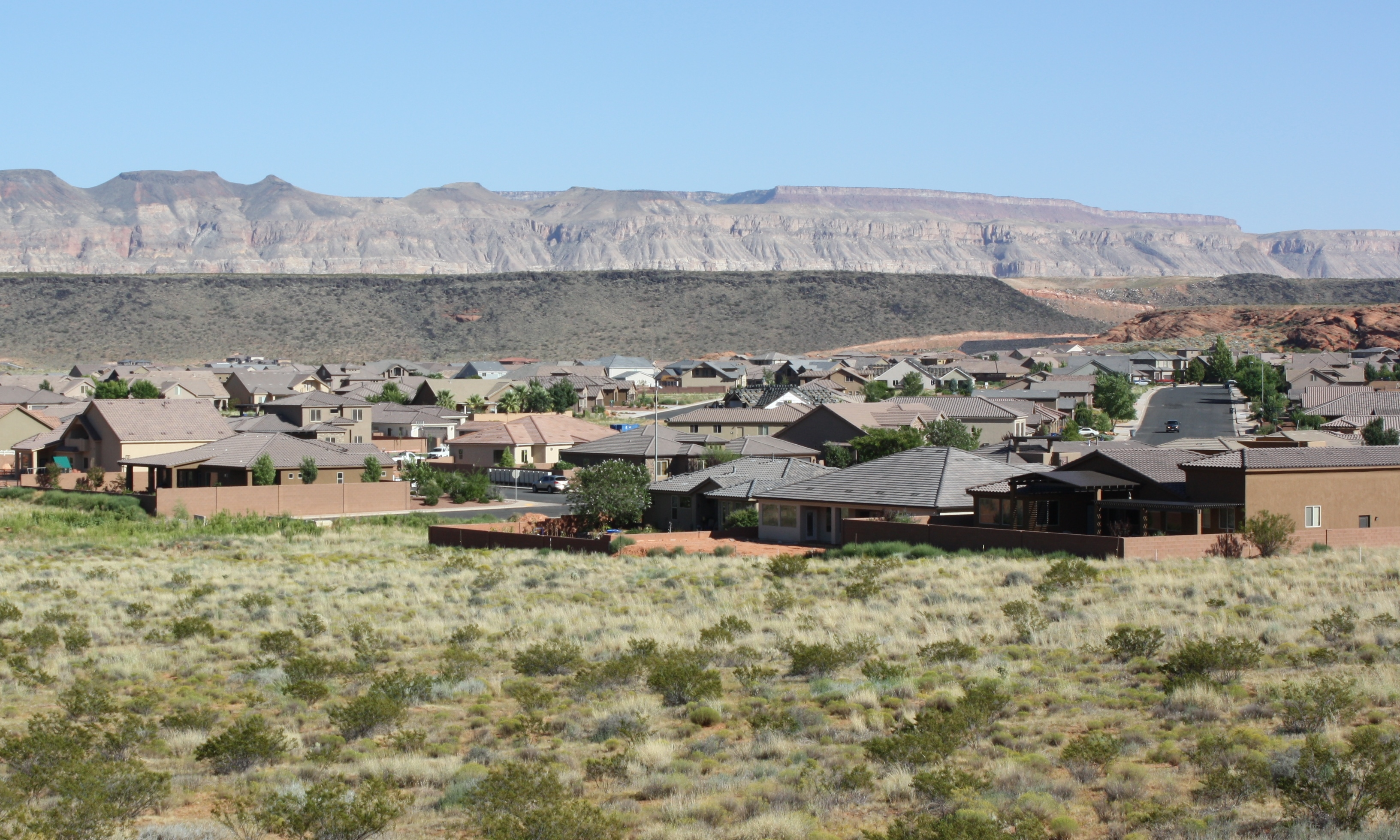 View of Dixie Springs, Hurricane, Utah, looking east from Sand Hollow Road