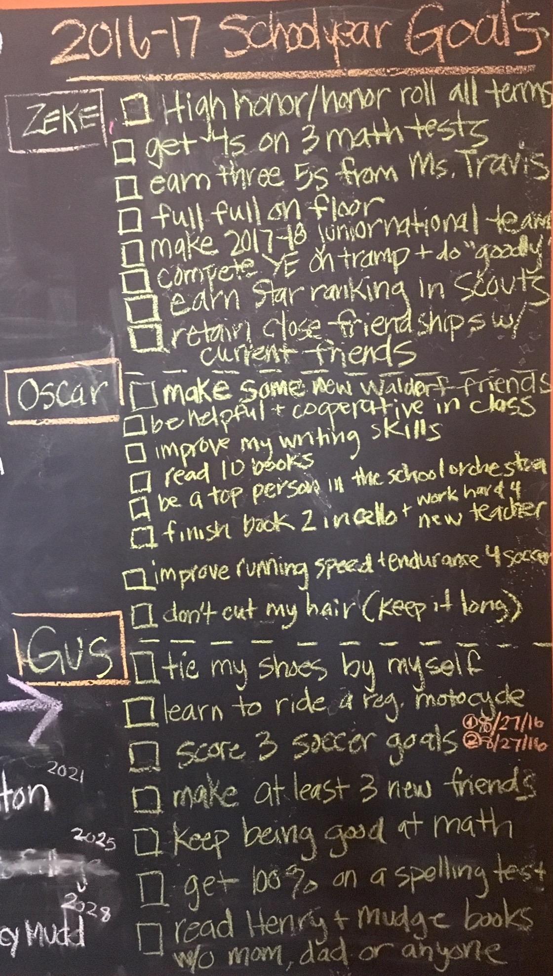 school year goals chalkboard - StGeorgeNews.com