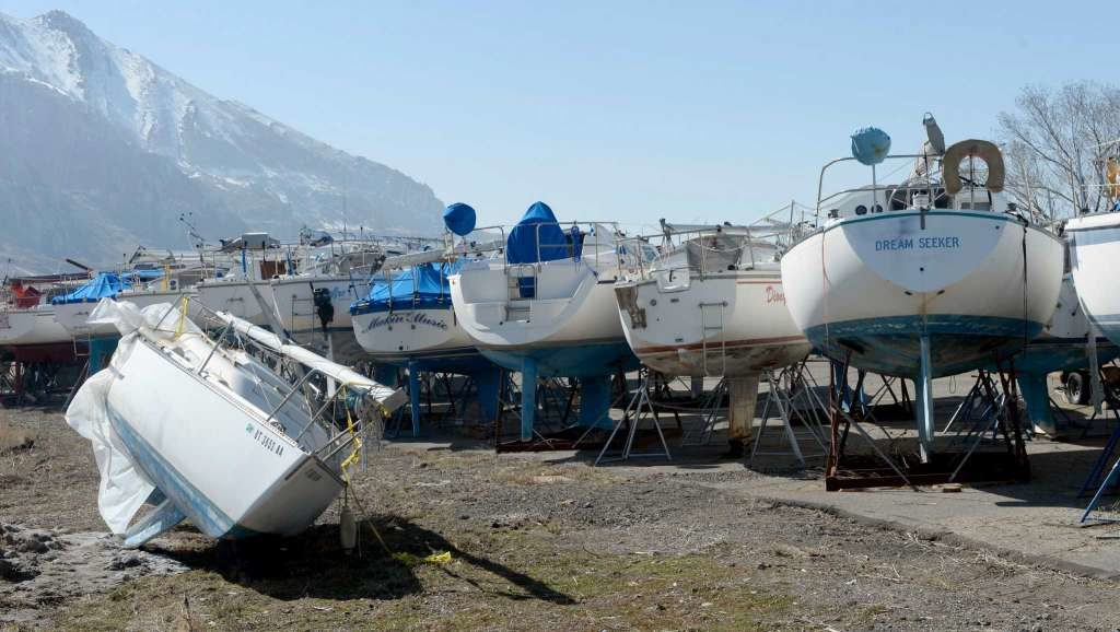 This Feb 25, 2016, file photo shows boats at the Great Salt Lake Marina State Park in Utah. The massive lake, key to the Utah's economy and identity, is skirting record low levels after years of below-average precipitation and record heat   Photo courtesy of Al Hartmann/The Salt Lake Tribune via AP, File, St. George News
