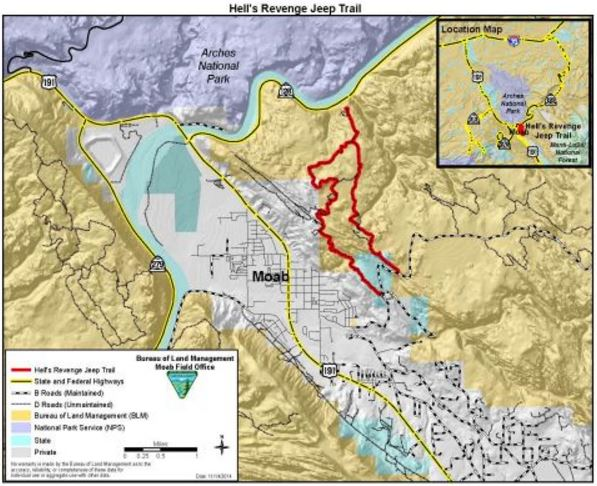A map showing the area of Hell's Revenge Trail where two women died Sept. 2 in a UTV accident at the Sands Flat Recreation area in Moab, Utah | Photo courtesy of the Bureau of Land Management, St. George News