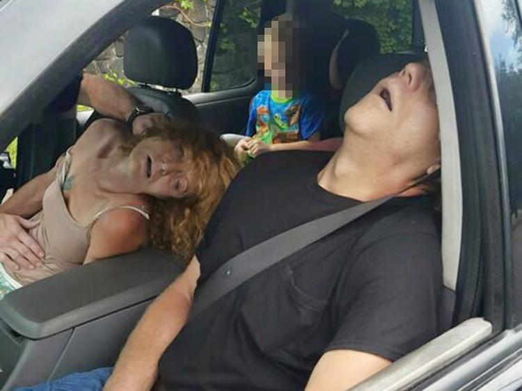 Police found 47-year-old James Acord and 50-year-old Rhonda Pasek overdosing in a Ford Explorer with a 4-year-old boy in the back seat (his face has been digitally altered to protect his identity), East Liverpool, Ohio, Sept. 7, 2016 | Photo courtesy of the City of East Liverpool, St. George News